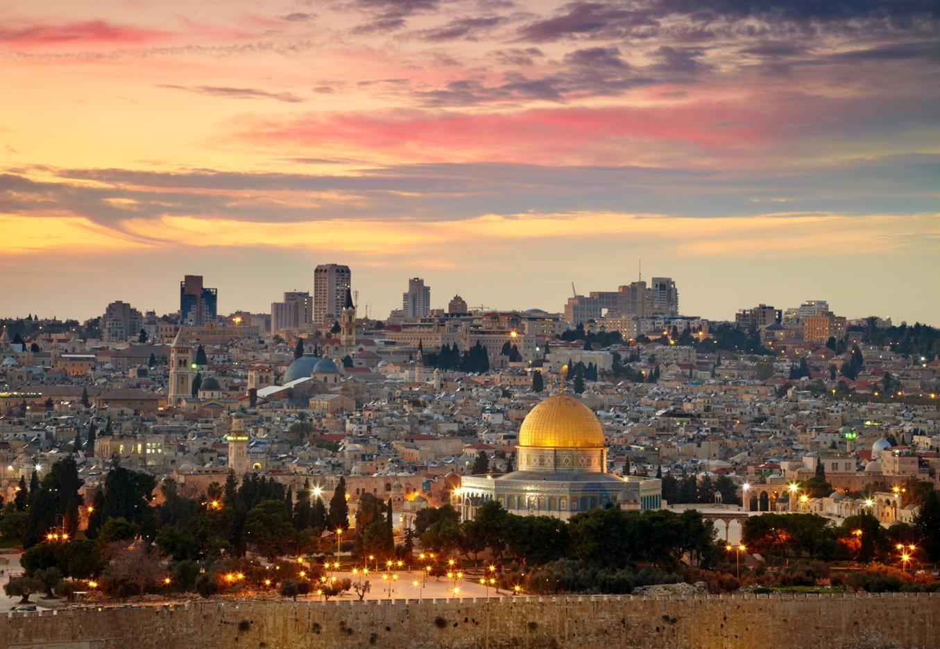 Фото вид на старый иерусалим и мечеть
