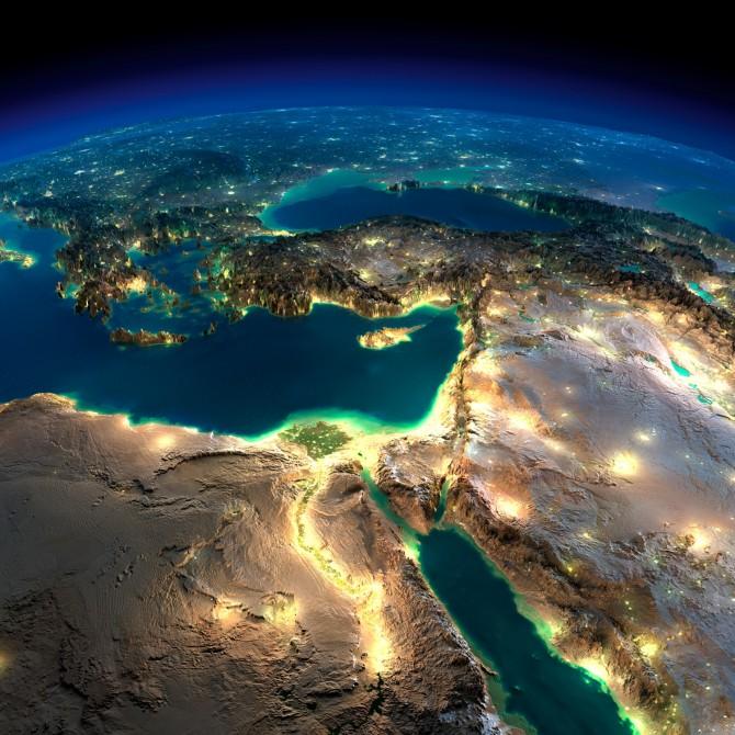 Фото: Вид Израиля на карте мира